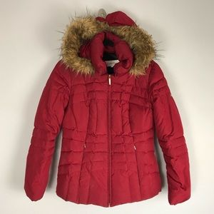 Calvin Klein puffer coat red faux fur lined hood